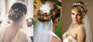 свадебные прически с заколкой и фатой фото