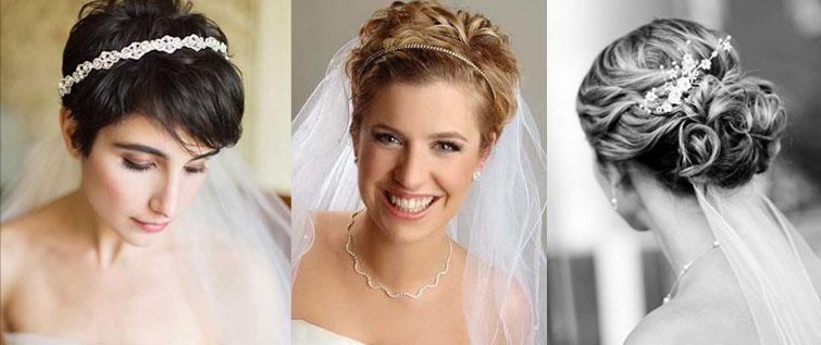 Свадебная прическа на короткие волосы с фатой и без