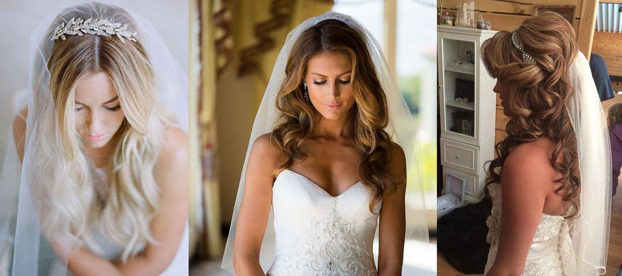 Свадьба прически средняя длина с фатой