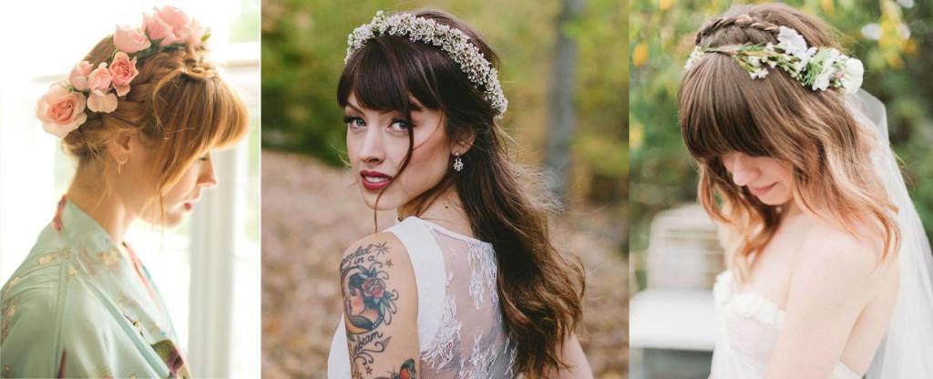 Свадебные прически с цветочными венками