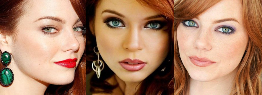 Вечерний макияж для рыжей с зелеными глазами