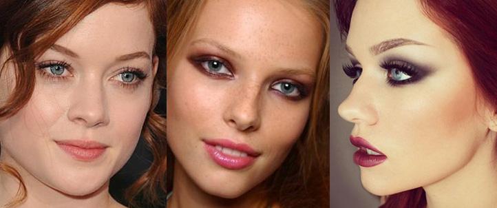 Вечерний макияж для рыжих с серыми глазами