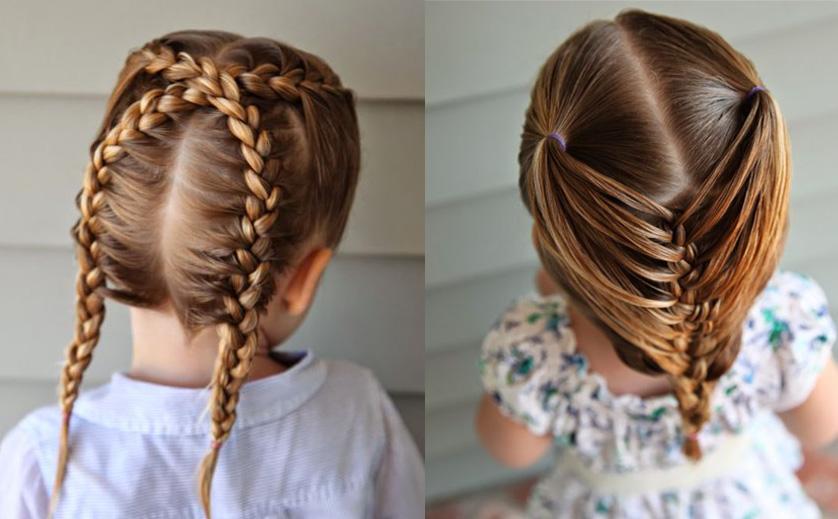 Плетение на волосах девочки