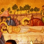 Роспись на стене храма, у камня, на который было положено тело Христа