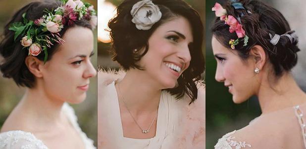 Цветочные украшения в коротких волосах